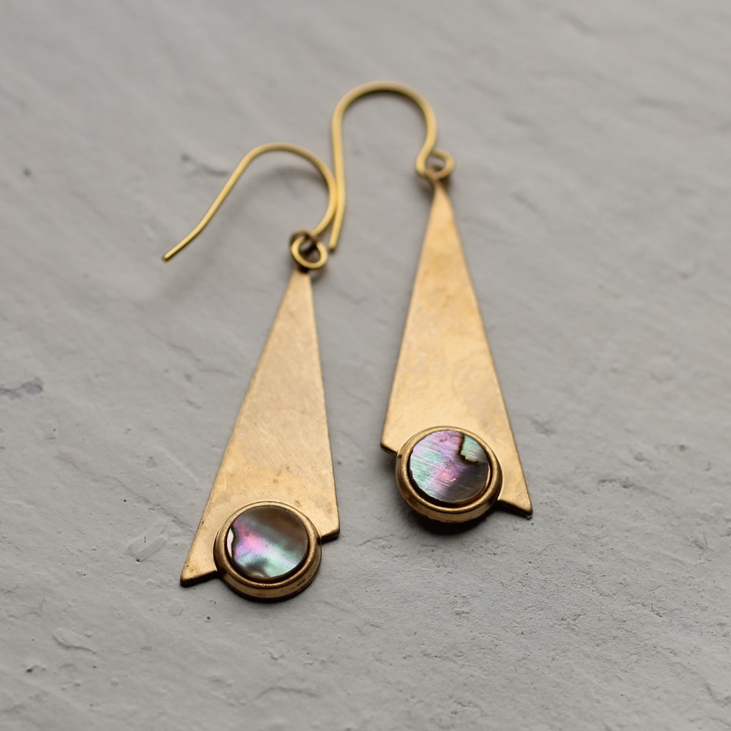 Pearl Triangle Earrings - Earrings
