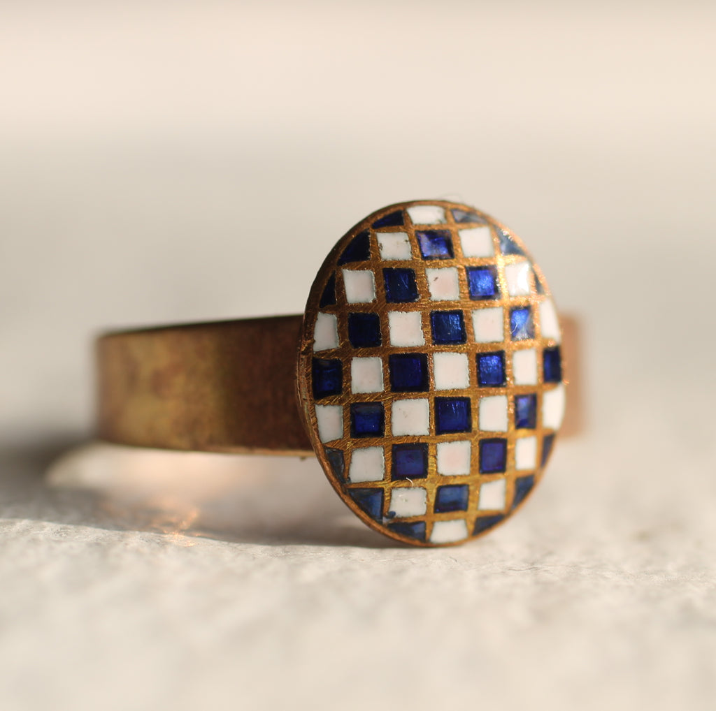 Blue and White Harlequin Ring - Rings