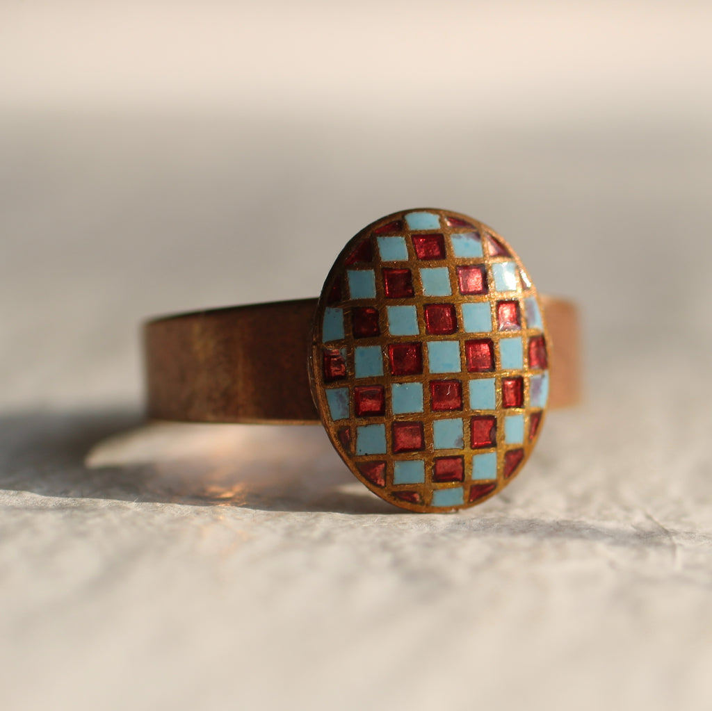 Red and Turquoise Harlequin Ring - Rings