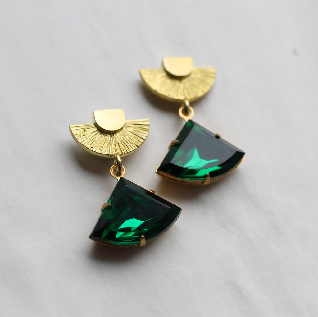 Art Deco Emerald Post Earrings - Earrings