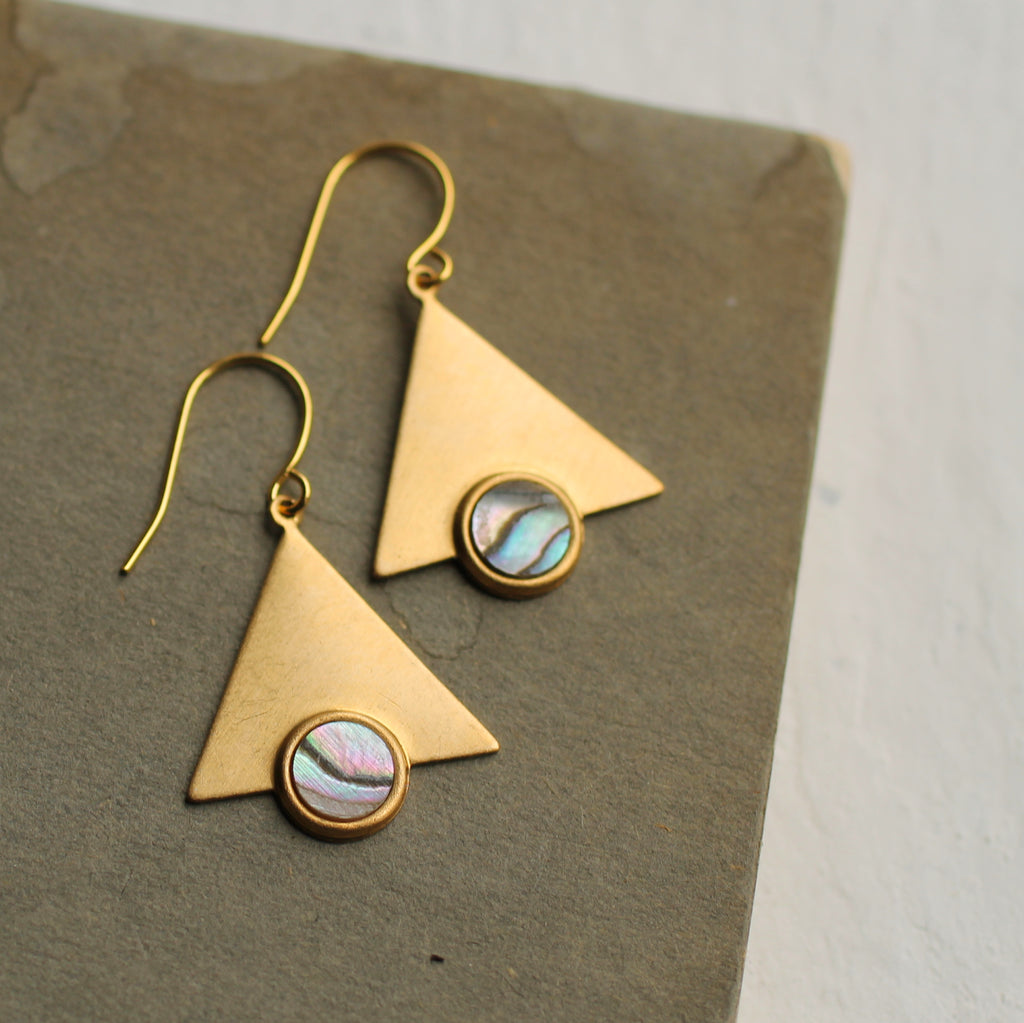 Mother of Pearl Triangle Earrings - Earrings