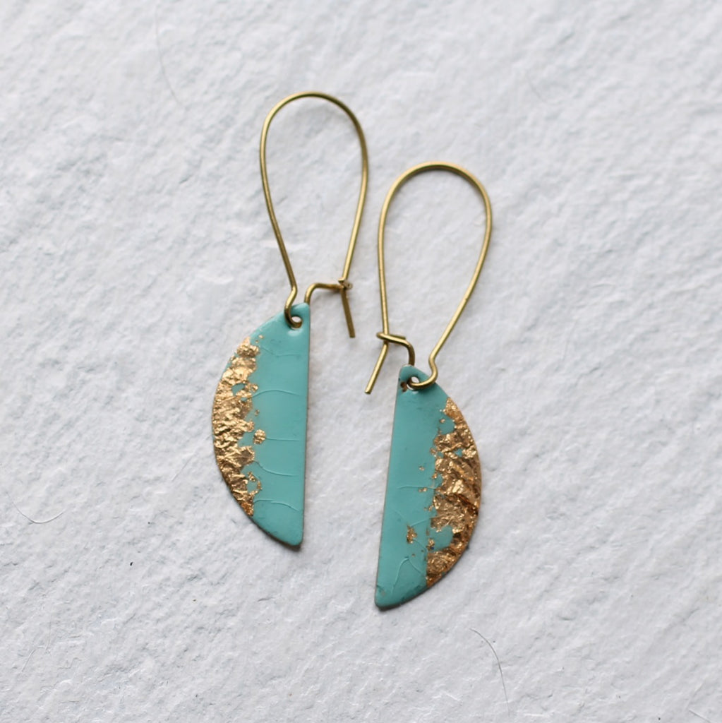 Seafoam Enamel Earrings - Earrings