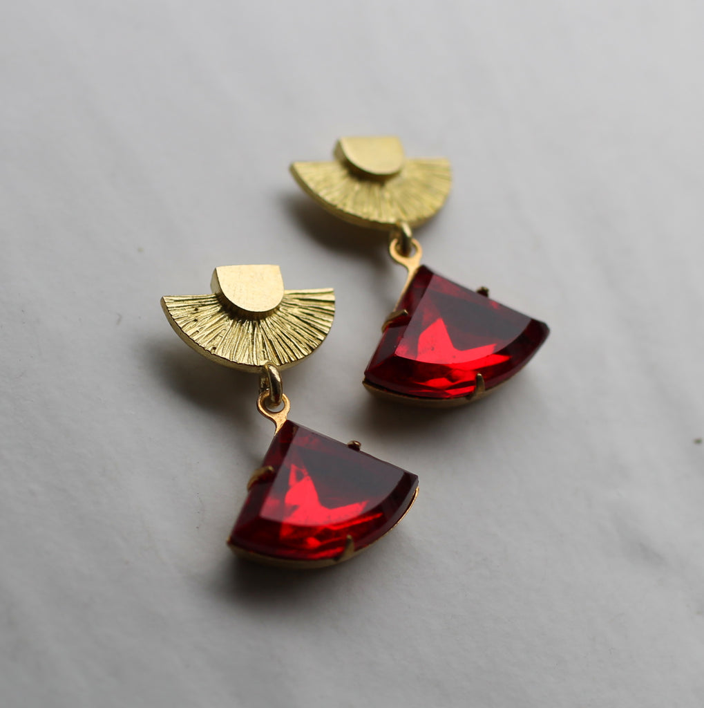 Art Deco Ruby Red Post Earrings - Earrings
