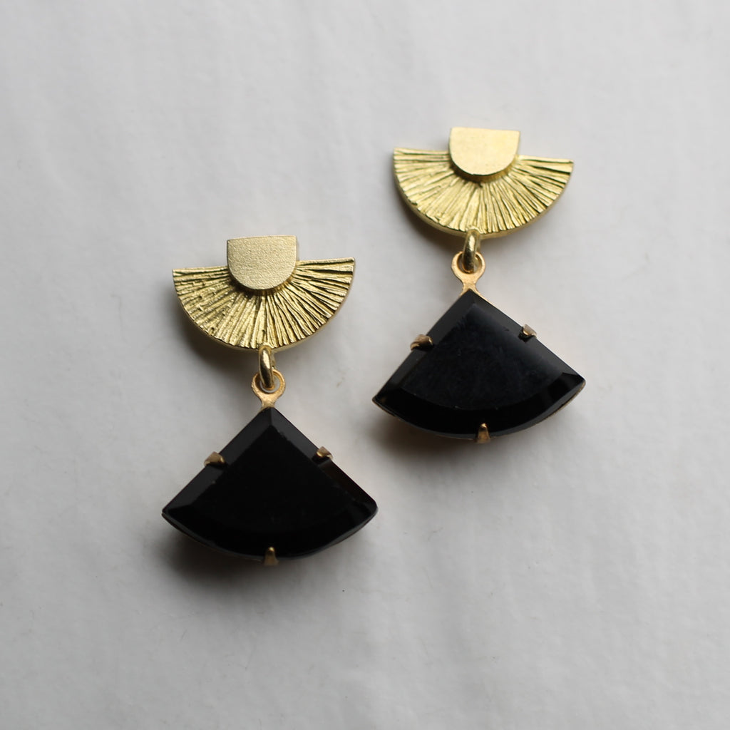 Art Deco Jet Black Post Earrings - Earrings