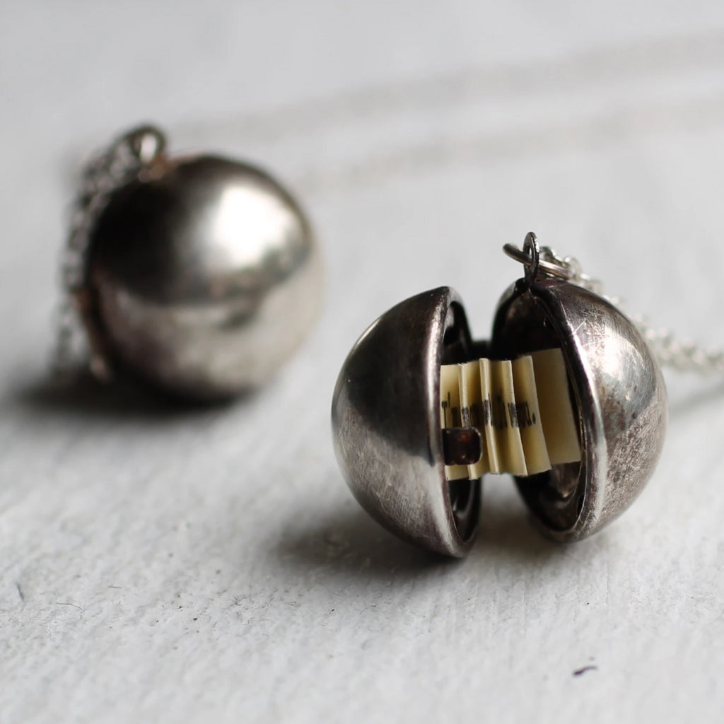 Silver Ball Locket with Hidden Message - Necklaces