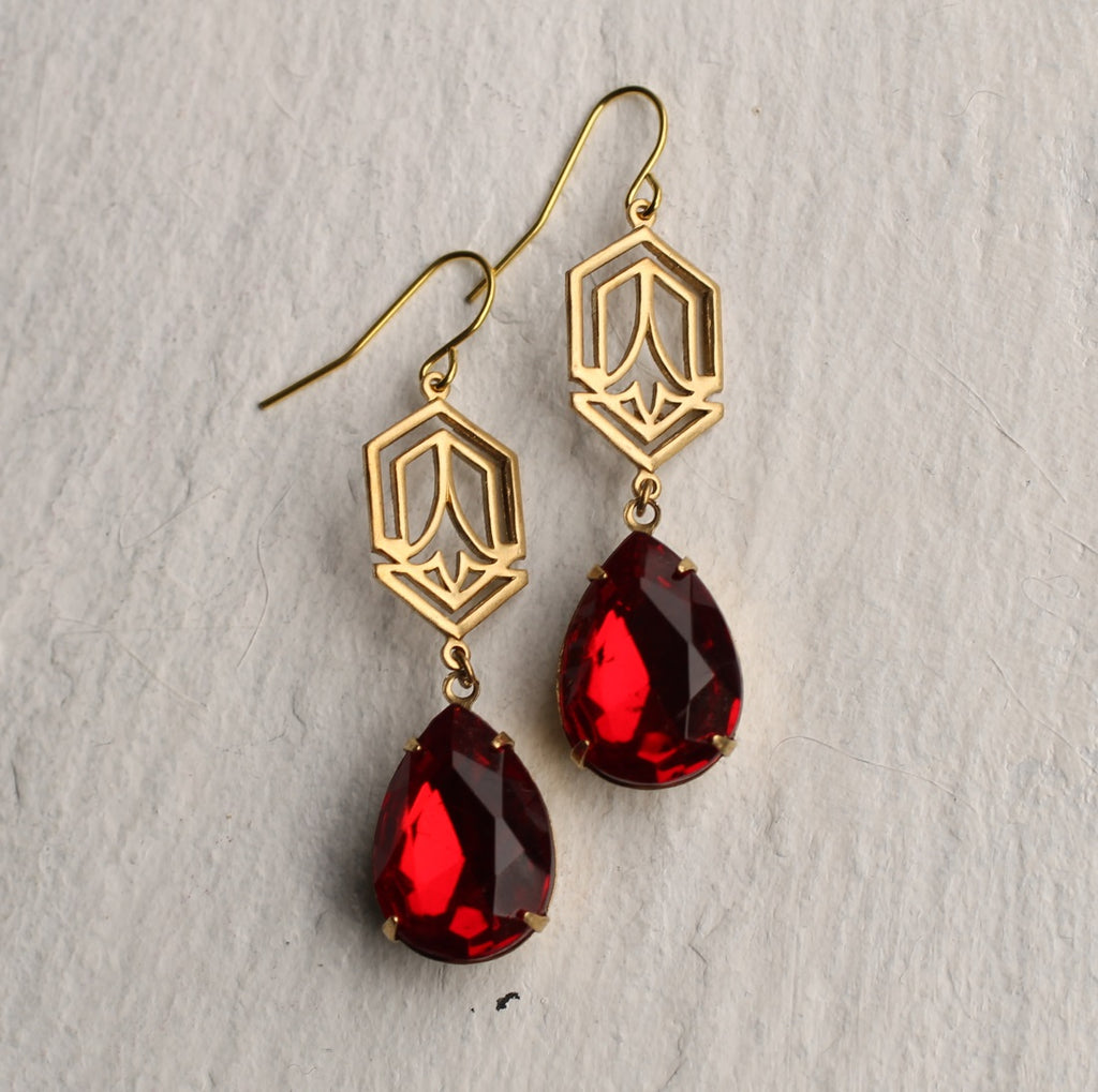 Ruby Deco Teardrop Earrings - Earrings