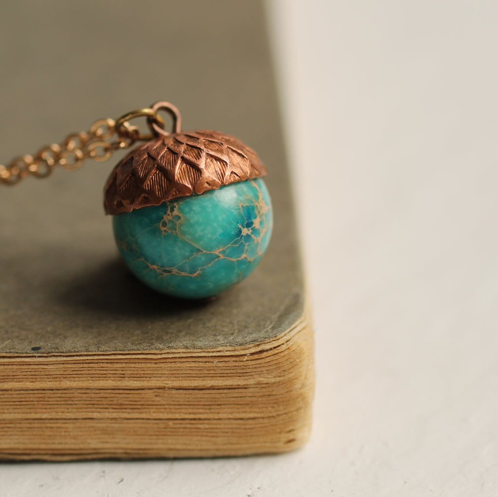 Sea Green Acorn Necklace - Necklaces