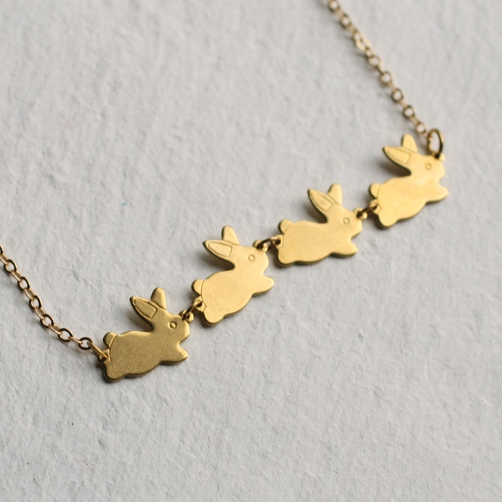 Rabbit Family Necklace Gold - Necklaces