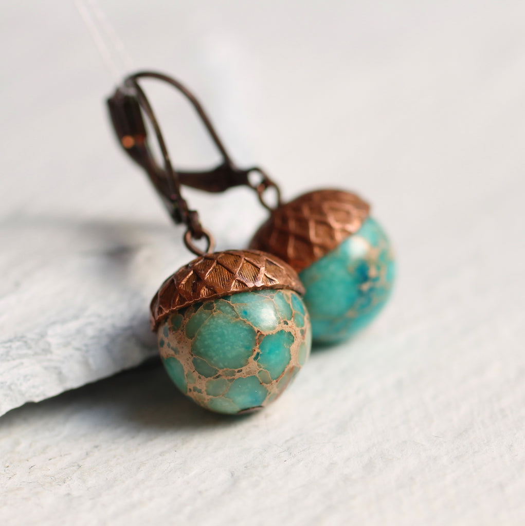 Sea Green Acorn Earrings - Earrings
