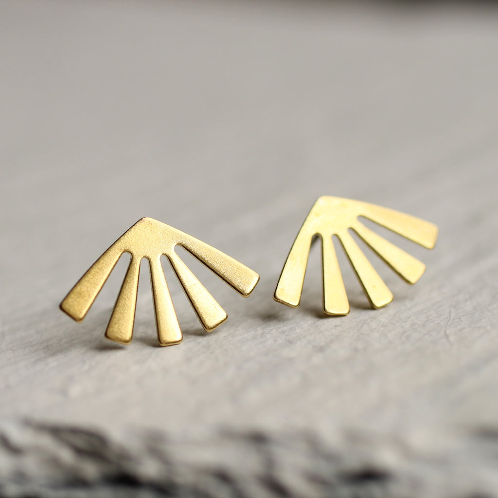 Sun Stud Gold Earrings - Earrings