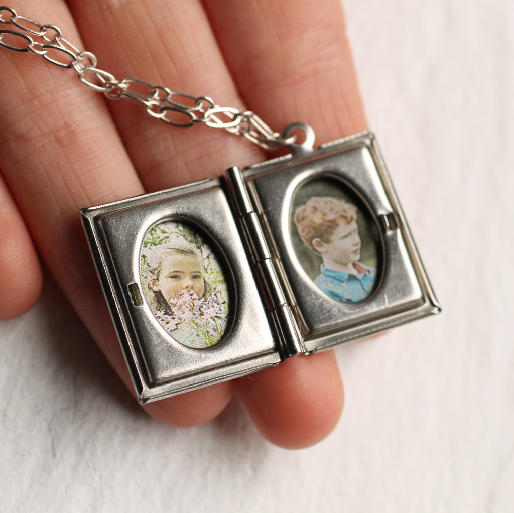 Silver Book Locket -