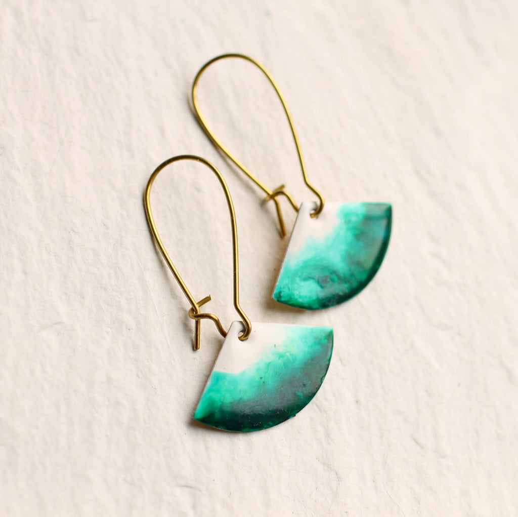 Jade Green Wave Earrings - Earrings