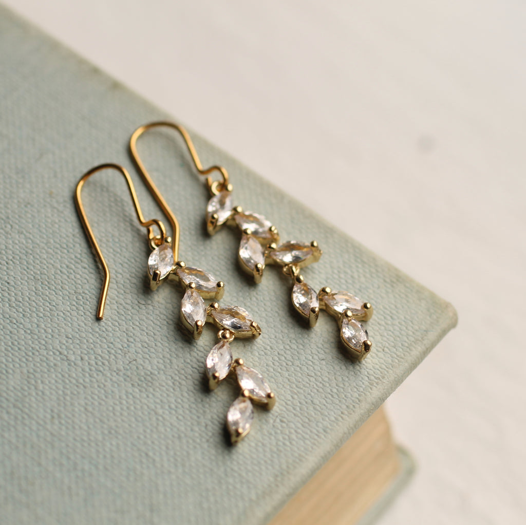 Vintage Crystal Branch Earrings - Earrings