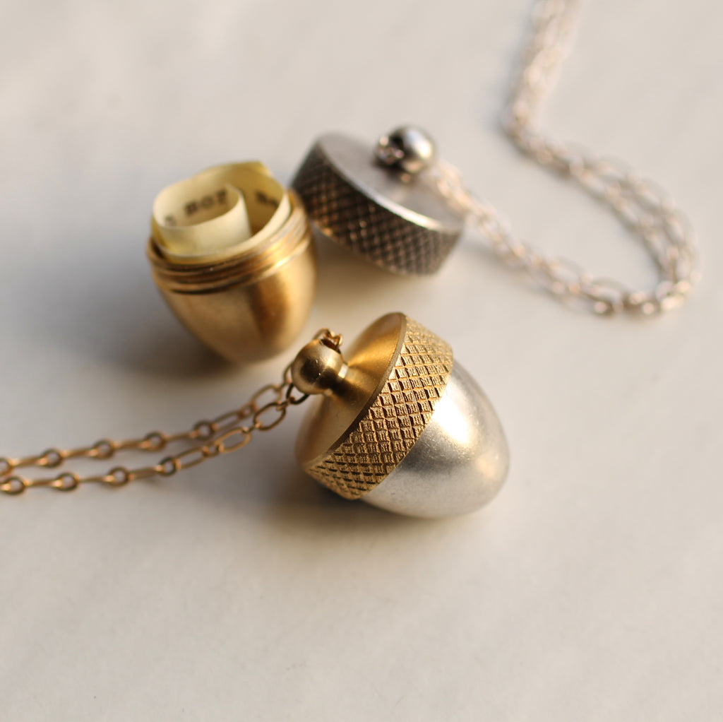 Hidden Message Acorn Locket - Necklaces