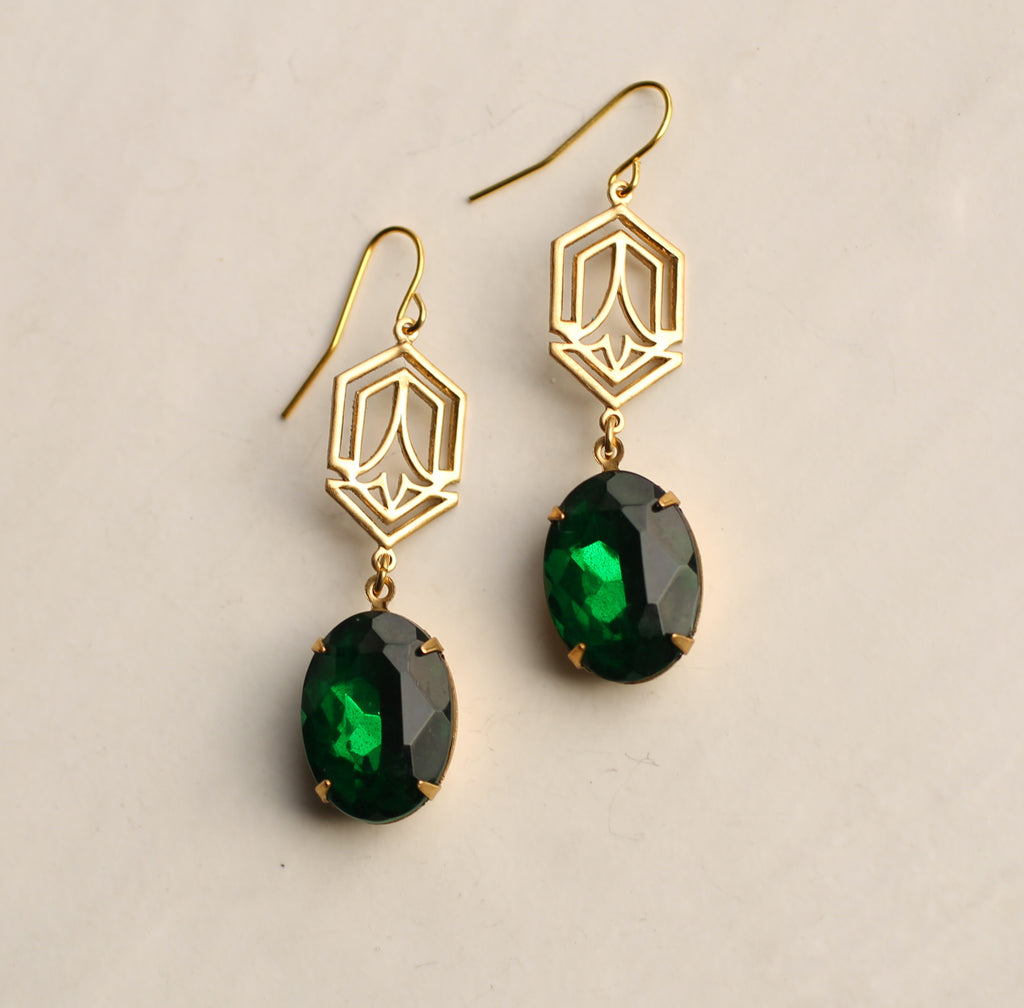 Art Deco Emerald Jewel Earrings - Earrings