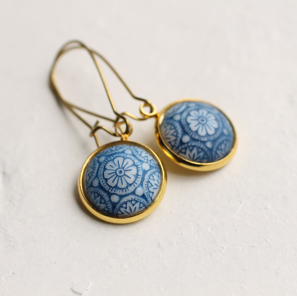Blue Mosaic Earrings - Earrings