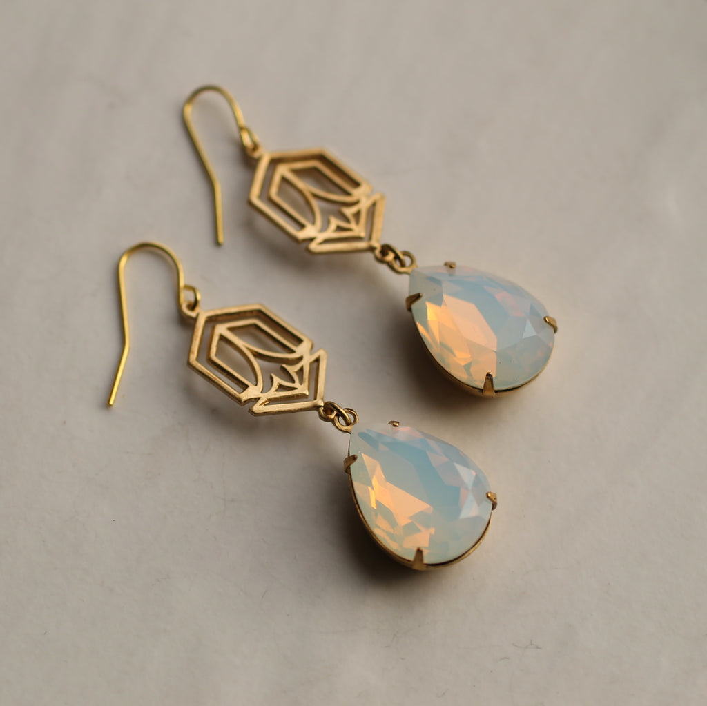 Art Deco Opal Earrings - Earrings