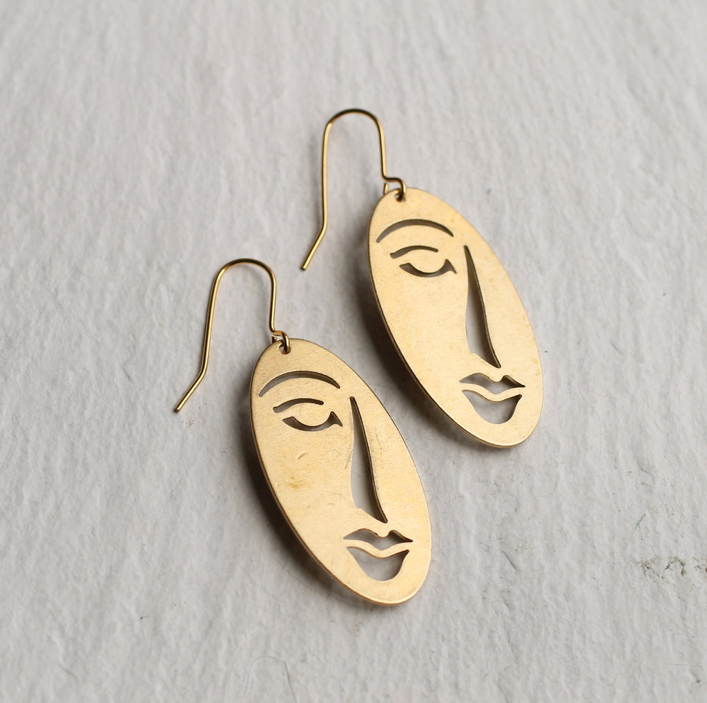Picasso Woman's Face Earrings - Earrings