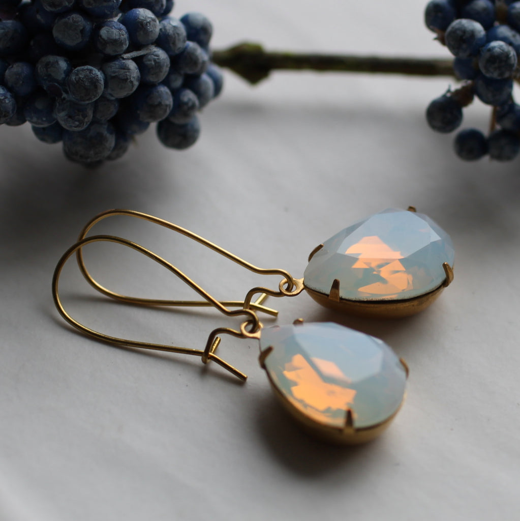 White Opal Jewel Earrings - Earrings