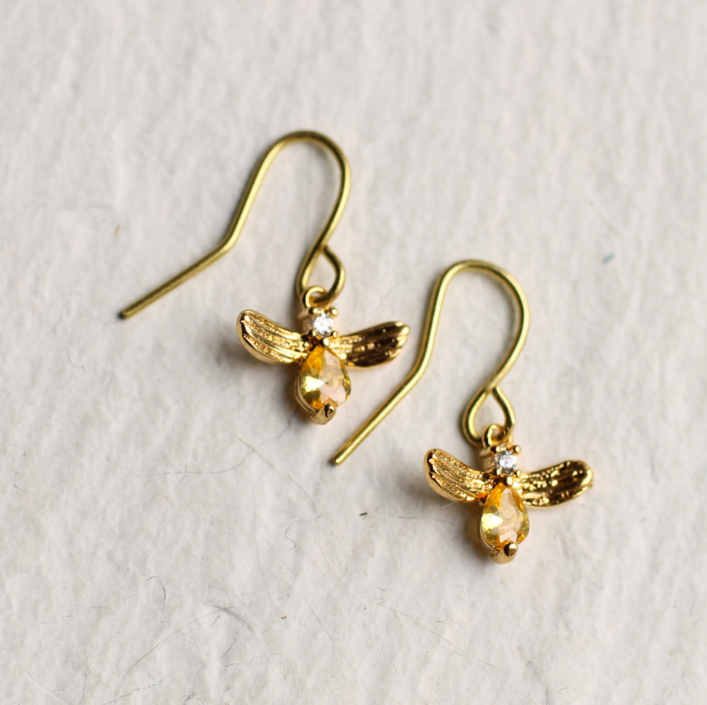 Tiny Jewel Bee Earrings - Earrings