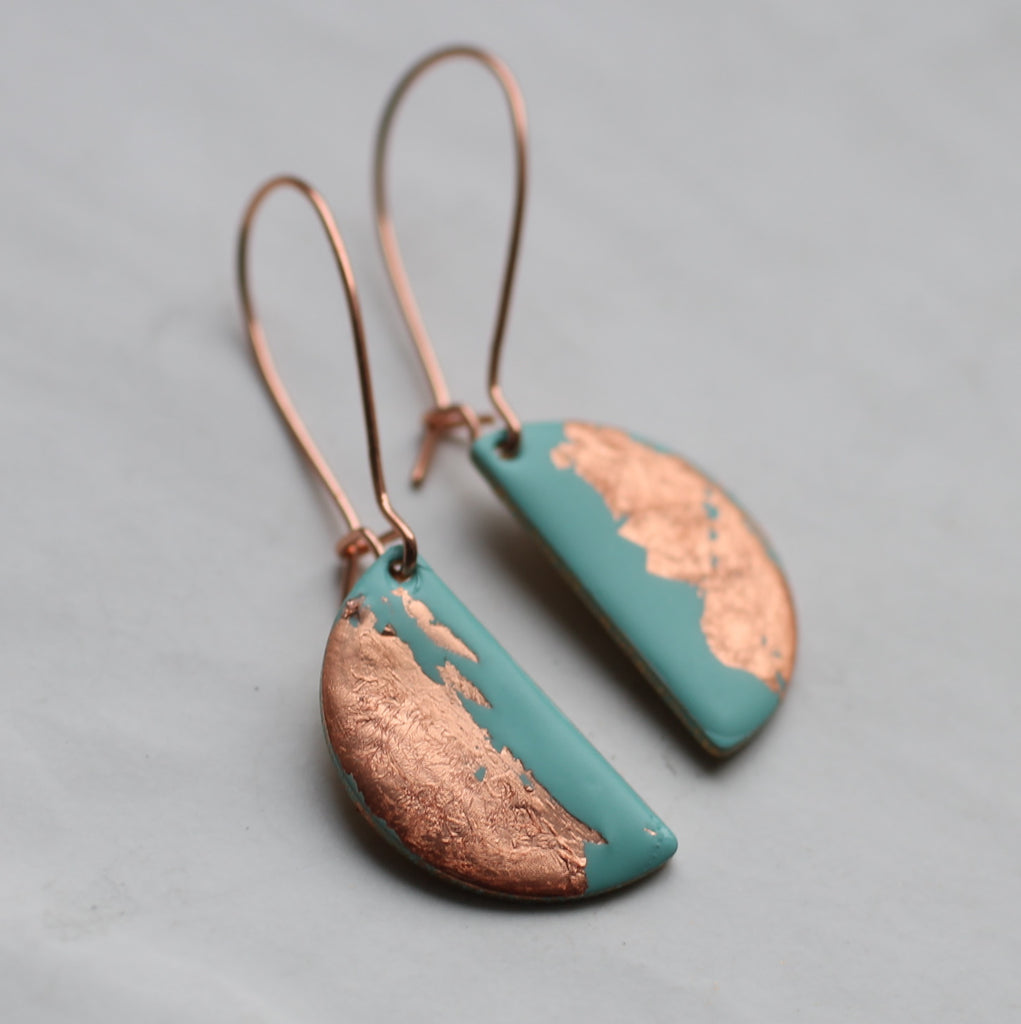 Seafoam and Copper Enamel Earrings - Earrings