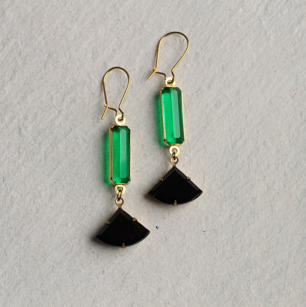 Emerald & Jet Art Deco Earrings - Earrings