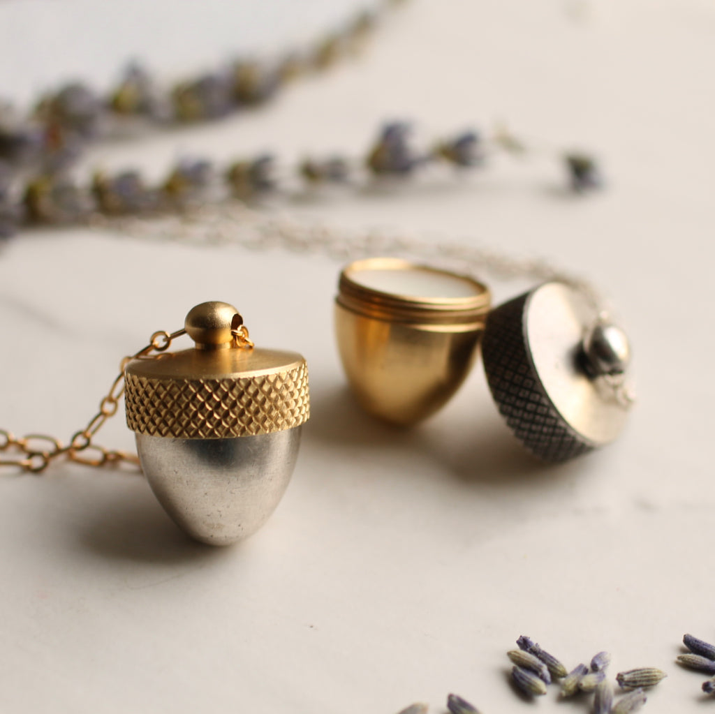 Botanical Solid Perfume Locket - Necklaces