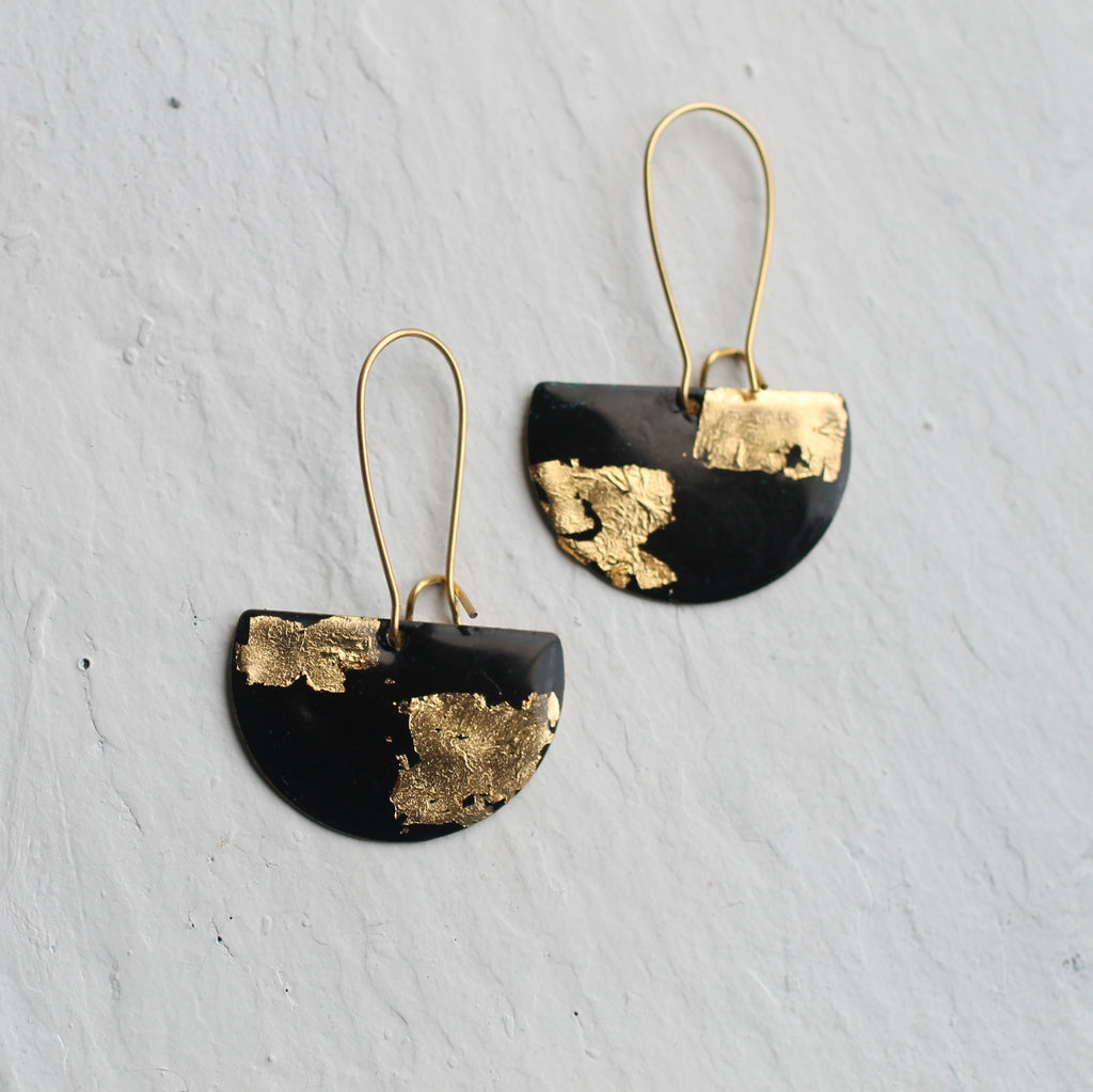 Chequered Black and Gold Earrings - Earrings