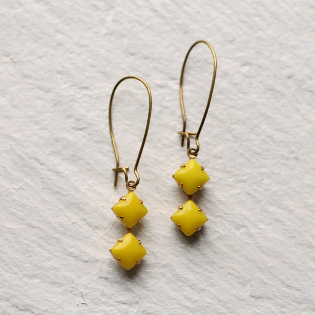 Yellow Geometric Earrings - Earrings