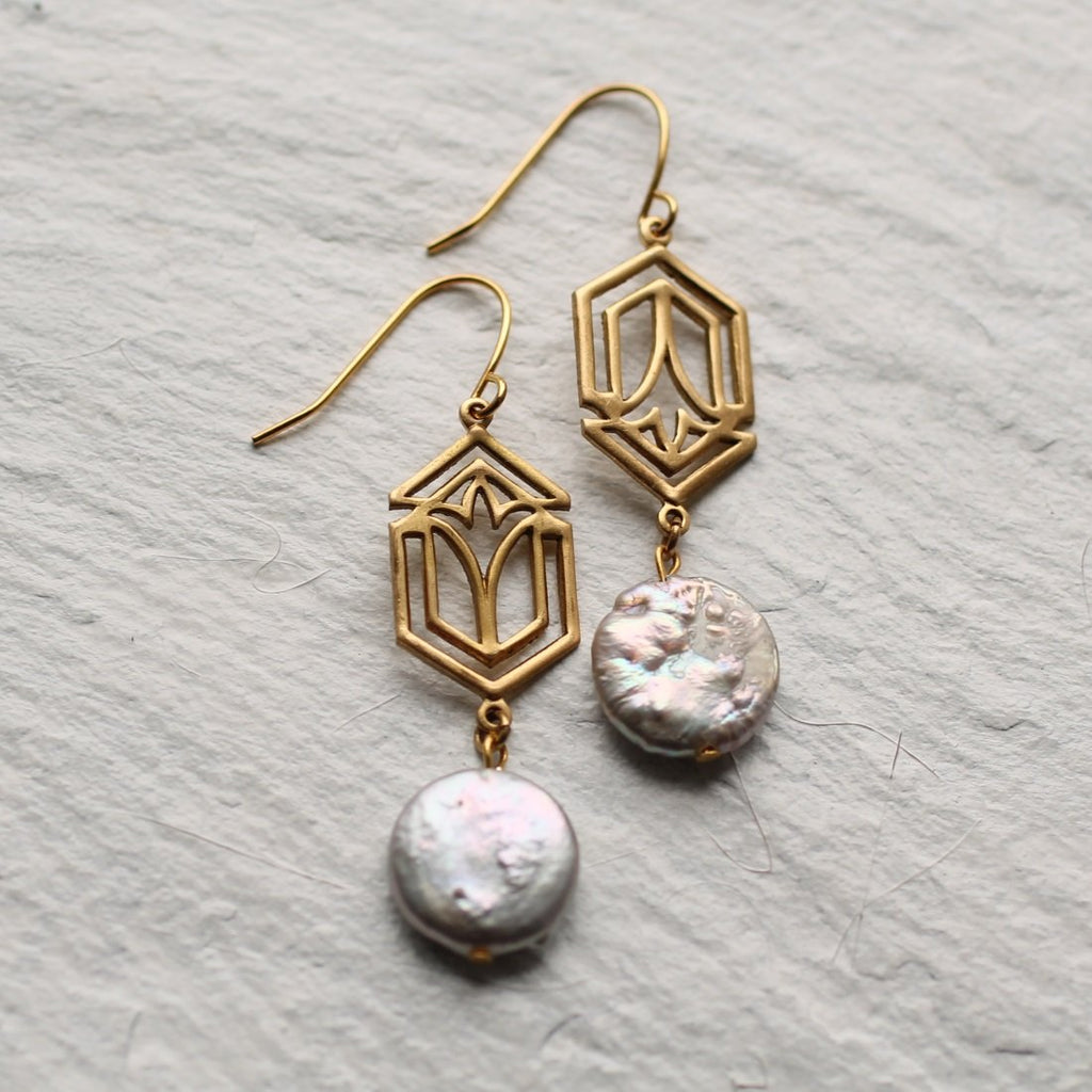 Art Deco Pearl Earrings - Earrings