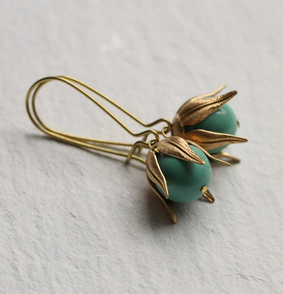 Turquoise Golden Bud Earrings - Earrings
