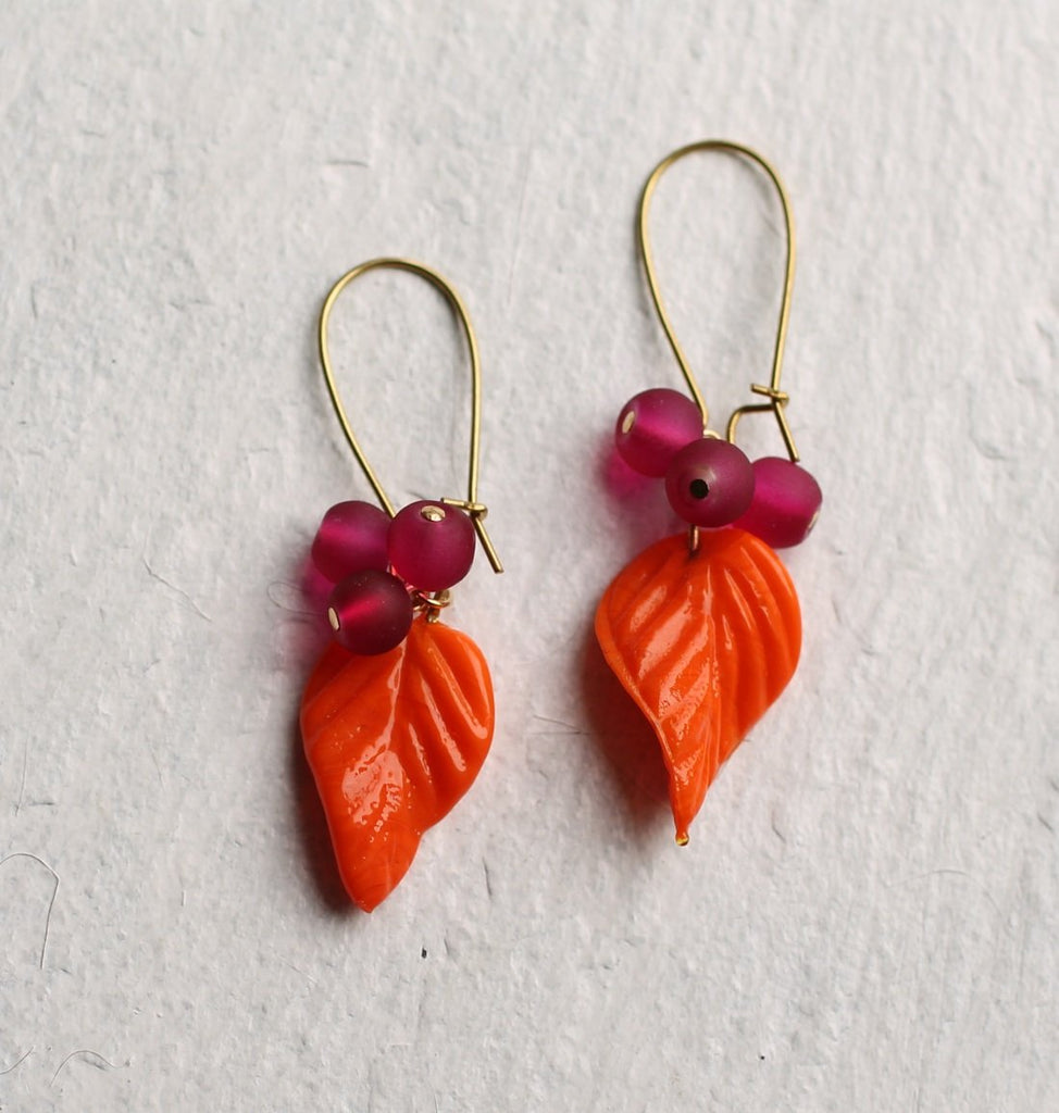 Neon Orange Vine Earrings - Earrings