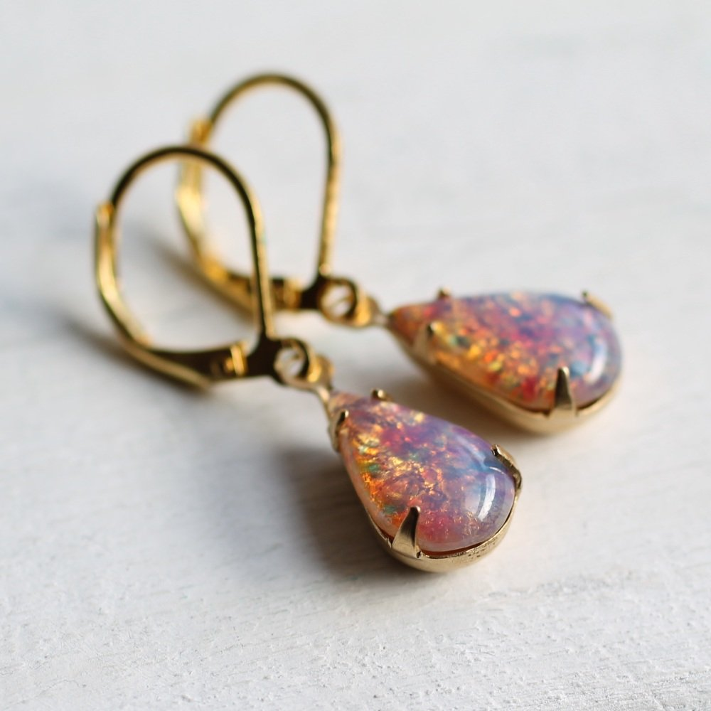 Pink Opal Earrings - Earrings