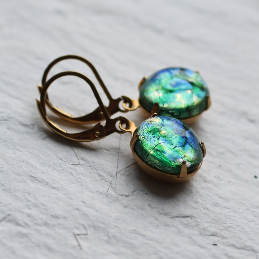 Peacock Green Earrings
