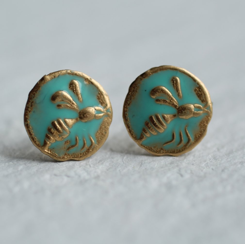 Enamel Bee Earrings - Earrings