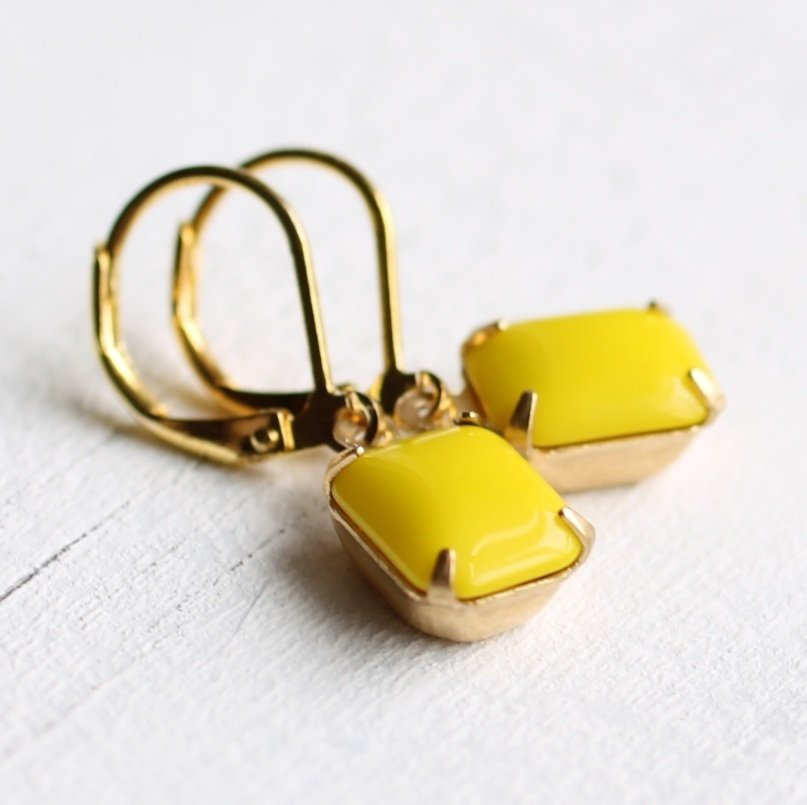 Neon Yellow Earrings - Earrings
