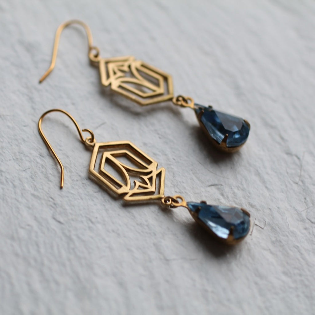 Art Deco Sapphire Earrings - Earrings