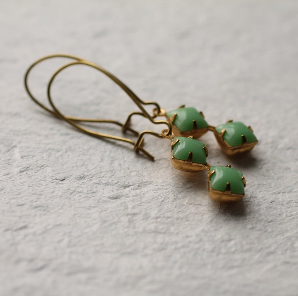 Green Geometric Earrings - Earrings