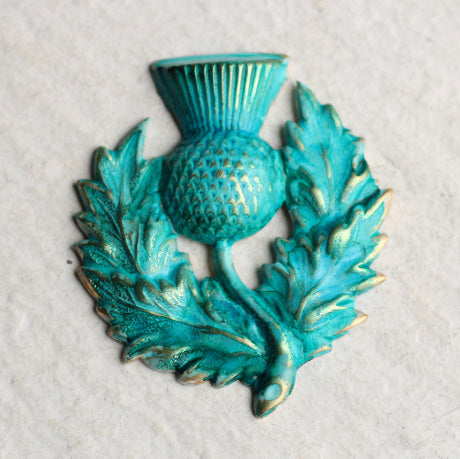 Verdigris Thistle Brooch - Brooches & Pins