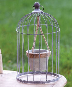Wire Bird Cage with Jute and Cement Plant Holder