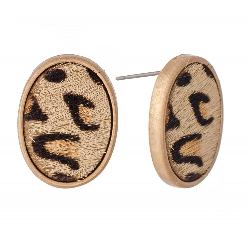 Genuine Leather Leopard Print Cow Hide Oval Stud Earrings
