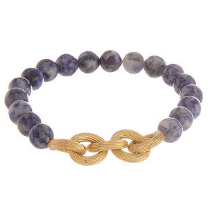 Natural Stone Bead Bracelet with Gold Chain Link Detail