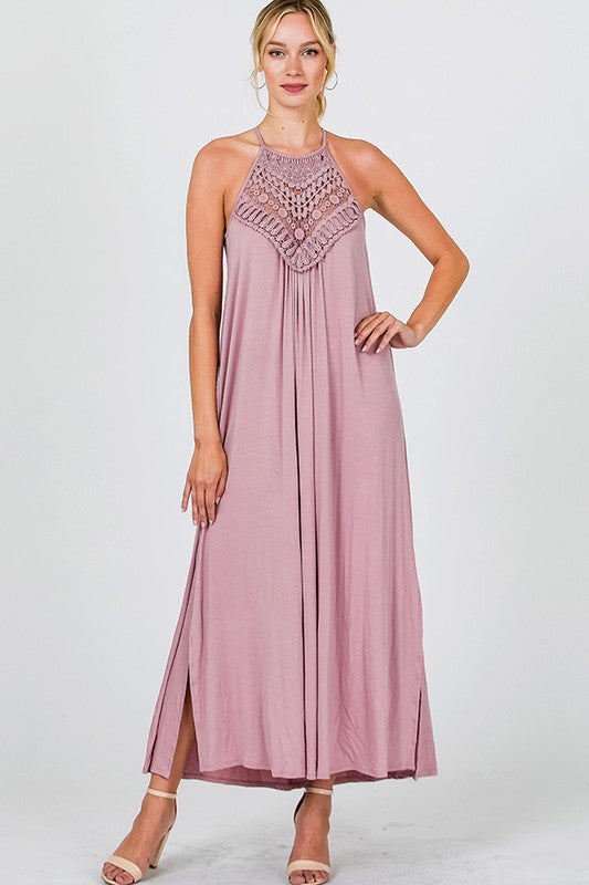Solid Crochet Maxi Dress