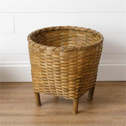 Woven Woodchip Basket with Wooden Legs