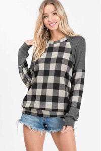 Buffalo Plaid Block Sweater