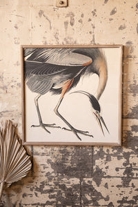Crane Print with Wooden Frame