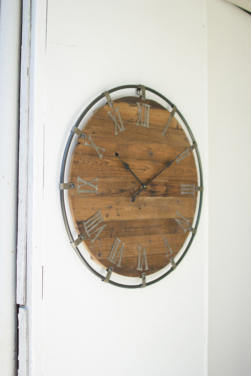 Wooden Wall Clock with Metal Frame
