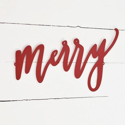 Red Metal Merry Sign