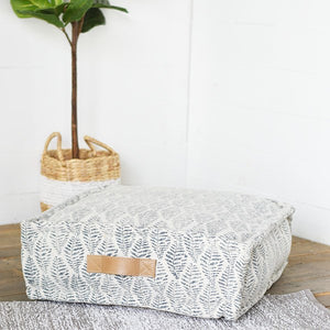 Square Fern Blue Pouf