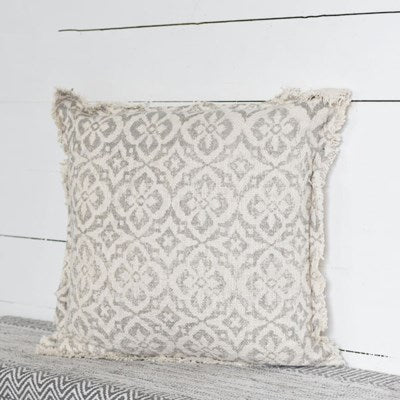 "20"" Natural Light Grey Designed Pillow"